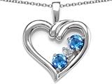 Original Star K Open Heart 3 Stone Pendant with Genuine Blue Topaz