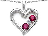 Star K™ Open Heart 3 Stone Pendant Necklace with Created Ruby style: 305699