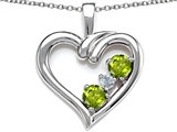 Original Star K™ Open Heart 3 Stone Pendant with Genuine Peridot