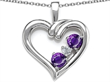 Original Star K Open Heart 3 Stone Pendant with Genuine Amethyst