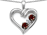 Original Star K Open Heart 3 Stone Pendant with Genuine Garnet