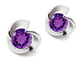 Original Star K™ 6mm Round Genuine Amethyst Flower Earring Studs