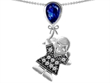 Original Star K™ Little Girl Holding a Balloon Mother Birthstone Pear Shape Created Sapphire Pendant