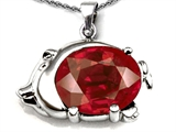 Original Star K™ Lucky Pig Pendant With Large Oval Created Ruby 12x10mm