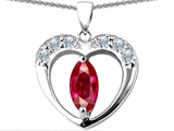 Original Star K™ Heart Pendant With Marquee Cut 8x4mm Created Ruby style: 305714