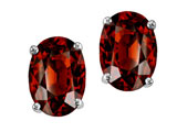 Tommaso Design Oval 7x5mm Genuine Garnet Earring Studs