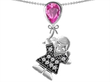 Original Star K™ Girl Holding a Balloon Mother September Birth Month Pear Shape Created Pink Sapphire Pendant style: 305736