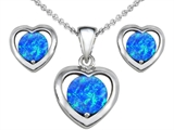 Original Star K™ Round Created Blue Opal Heart Pendant with Free Box Set matching earrings