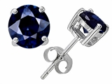 Original Star K Classic Round 7mm Created Sapphire Dark Blue Earring Studs