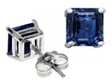 Original Star K Classic Square 7mm Created Sapphire Earring Studs