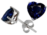 Original Star K Classic Heart Shape 7mm Created Sapphire Dark Blue Earring Studs