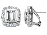 Original Star K™ Square Cut Simulated White Sapphire Earrings style: 305758