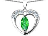 Original Star K™ Heart Pendant With Marquee Cut Simulated Emerald style: 305760