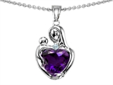 Original Star K™ Loving Mother With Child Hugging Pendant With Heart Shape Simulated Amethyst