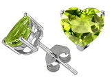 Tommaso Design Heart Shape Genuine Peridot Earring Studs