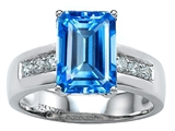Original Star K Classic Octagon Emerald Cut 9x7 Engagement Ring With Genuine Blue Topaz