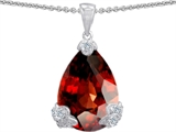 Original Star K Large 17x11mm Pear Shape Simulated Garnet Pendant