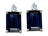 Tommaso Design Emerald Cut Genuine Sapphire and Diamon Earring Studs