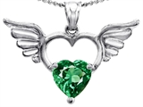 Star K™ Wings Of Love Birth Month Pendant Necklace with 8mm Heart Shape Simulated Emerald style: 305776
