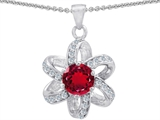 Original Star K™ Round 7mm Created Ruby Flower Pendant style: 305777