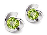 Original Star K Round Genuine Peridot Flower Earring Studs