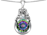 Original Star K™ Large Loving Mother And Family Pendant With Round 10mm Rainbow Mystic Topaz style: 305786