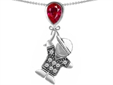 Star K™ Boy Holding a Balloon Mother July Birth Month Pear Shape Created Ruby Pendant Necklace style: 305787