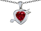 Original Star K™ Heart with Cupid`s Arrow Love Pendant with Created Ruby