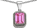 Original Star K Bali Style Emerald Cut 10x8mm Created Pink Sapphire Pendant