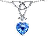 Celtic Love by Kelly Love Knot Pendant with 8mm Heart Shape Genuine Blue Topaz