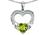 Celtic Love by Kelly Hands Holding 8mm Heart Claddagh Pendant With Genuine Peridot