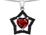 Original Star K™ Heart Shape Simulated Garnet Black Star Pendant style: 305815