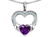 Celtic Love by Kelly Hands Holding 8mm Heart Claddagh Pendant With Genuine Amethyst