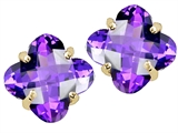 Tommaso Design Clover Cut Genuine Amethyst Earrings