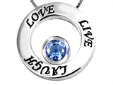 Original Star K Live/Love/Laugh Circle of Life Pendant with March Birthstone Round 7mm Simulated Aquamarine