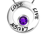 Original Star K Live/Love/Laugh Circle of Life Pendant with February Birthstone Round 7mm Genuine Amethyst