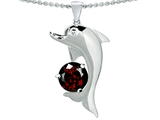 Original Star K Round 7mm Genuine Garnet Good Luck Dolphin Pendant