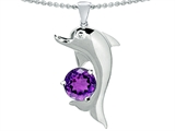 Original Star K™ Round 7mm Genuine Amethyst Good Luck Dolphin Pendant