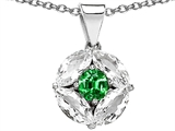 Original Star K™ Round Simulated Emerald Pendant style: 305837
