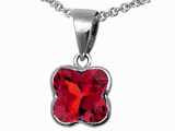 Tommaso Design Clover Cut Genuine Garnet Pendant