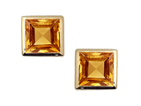 Tommaso Design™ Square Small Genuine Citrine Earrings