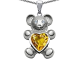 Original Star K™ Love Bear Holding Birthstone of November Heart Shape Simulated Citrine style: 305842
