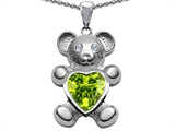 Original Star K™ Love Bear Holding Birthstone of August Heart Shape Simulated Peridot style: 305843