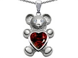 Original Star K™ Love Bear Holding Birthstone of January 8mm Heart Shape Genuine Garnet
