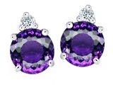Original Star K™ Round 7mm Simulated Amethyst Earrings Studs style: 305848
