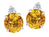 Original Star K Round 7mm Genuine Citrine Earring Studs