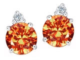 Original Star K Round 7mm Simulated Mexican Fire Opal Earring Studs