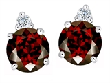 Original Star K Round 7mm Genuine Garnet Earring Studs