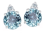 Original Star K Round 7mm Simulated Aquamarine Earring Studs
