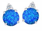 Original Star K Round 7mm Created Blue Opal Earring Studs